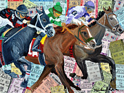 Churchill Downs Mixed Media Prints - Santa Anita Print by Michael Lee