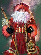 Fox Painting Prints - Santa as Father Christmas Print by Shelley Schoenherr