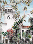 Tourism Drawings Prints - Santa Barbara Clock tower Print by Danuta Bennett