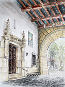 Tourism Drawings Prints - Santa Barbara Courthouse Arch Print by Danuta Bennett