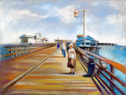 Original For Sale Pastels Prints - Santa Barbara Pier Print by Filip Mihail