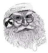 Santa Claus Drawings Posters - Santa - Black and White Poster by Lisa Estep
