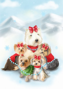 Christmas Dogs Prints - Santa Buddies Print by Catia Cho