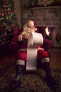 Fireplace Prints - Santa Checking HIs List Print by Diane Diederich