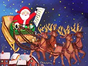Dessie Durham Art - Santa Claus and his Reindeers by Dessie Durham