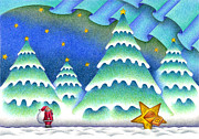 Snowy Night Night Drawings Posters - Santa Claus and shooting star Poster by T Koni
