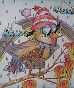 Santa Claus Drawings Posters - Santa claus bird painting Poster by Maryna Salagub