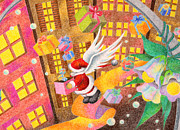 Art Of Building Drawings Posters - Santa Claus came from the sky Poster by T Koni