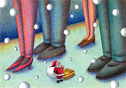 Silence Of Night Prints - Santa Claus feet Print by T Koni