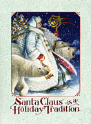 Polar Bears Paintings - Santa Claus is a Holiday Tradition by Lynn Bywaters