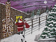 Stone Chimney Posters - Santa Claus Is Watching Poster by Jeffrey Koss