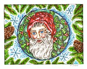 Pine Cones Drawings Prints - Santa Claus Print by Karen Sirard