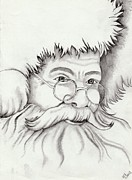Santa Claus Drawings Posters - Santa Claus Poster by Kaye Gribble