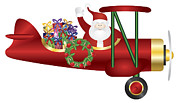Delivering Presents Framed Prints - Santa Claus on Biplane Delivering Presents Illustration Framed Print by JPLDesigns