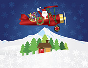 Delivering Presents Framed Prints - Santa Claus on Biplane with Presents on Night Snow Scene Framed Print by JPLDesigns