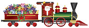 Delivering Presents Framed Prints - Santa Claus on Train Delivering Presents Illustration Framed Print by JPLDesigns