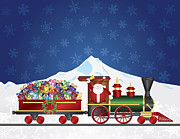 Delivering Presents Framed Prints - Santa Claus on Train with Presents on Night Snow Scene Framed Print by JPLDesigns