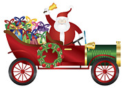 Delivering Presents Framed Prints - Santa Claus on Vintage Car Delivering Presents Illustration Framed Print by JPLDesigns