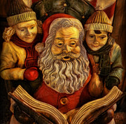 Father Christmas Prints - Santa Claus - Read us a Story II Print by Lee Dos Santos