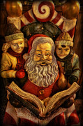 Father Christmas Prints - Santa Claus - Read us a Story Print by Lee Dos Santos