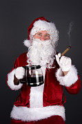 Stogie Posters - Santa Claus smoking a cigar and drinking coffee Poster by Joe Belanger