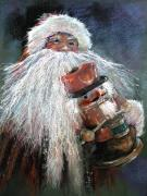 Jolly Drawings Prints - SANTA CLAUS St Nick and the Nutcracker Print by Shelley Schoenherr