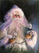 Santa Claus Painting Metal Prints - SANTA CLAUS - Sweet Treats at Fireside Metal Print by Shelley Schoenherr