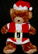 Gold Buyers Prints - Santa Claus Teddy Bear Print by Gail Matthews