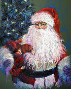 Santa Claus Posters - SANTA CLAUS - The Gift of a Doll Poster by Shelley Schoenherr