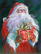 Santa Claus Drawings Posters - Santa Claus - The Perfect Gift Poster by Shelley Schoenherr
