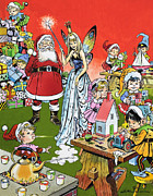 Elf Posters - Santa Claus Toy Factory Poster by Jesus Blasco