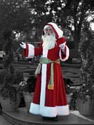 Photographs Digital Art - Santa Claus Walt Disney World Selective Coloring Black and White Digital Art by Thomas Woolworth
