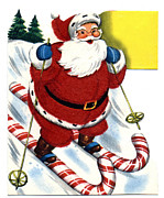 Santa Clause Prints - Santa Clause Skiing Print by Unknown