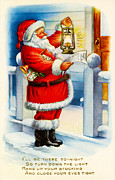 Santa Clause Prints - Santa Clause Print by Vintage Christmas Card Image