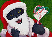 Wicked Kitty Metal Prints - Santa Claws Metal Print by Catherine G McElroy