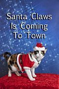 Animals At Christmas Posters - Santa Claws Poster by Melany Sarafis
