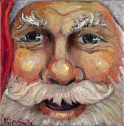 Santa Metal Prints - Santa Closeup Metal Print by Sheila Kinsey