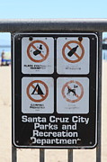 Beach Sign Framed Prints - Santa Cruz Beach Sign At The Santa Cruz Beach Boardwalk California 5D23840 Framed Print by Wingsdomain Art and Photography