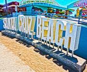 Santa Cruz Boardwalk Sign Print by Gregory Dyer