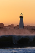 Paul Topp Art - Santa Cruz Harbor Lighthouse With Wave by Paul Topp