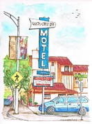 Cards Vintage Painting Prints - Santa Cruz Inn Motel in Riverside - California Print by Carlos G Groppa