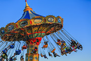 Amusement Park Photos - Santa Cruz SeaSwing at Sunset 2 by Scott Campbell