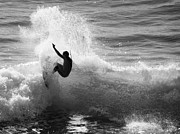 Santa Cruz Surfing Metal Prints - Santa Cruz Surfer Black and White Metal Print by Paul Topp