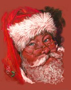 Greeting Cards Pastels Prints - Santa  Print by Debra Jones