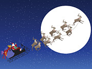 Delivering Presents Framed Prints - Santa Delivers Presents Framed Print by Kim Freitas