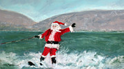 Skiing Pastels Posters - Santa Enjoying Smith Mountain Lake Before the Big Night Poster by Shelley Koopmann