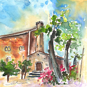 Abandoned Houses Drawings Prints - Santa Eulalia 02 Print by Miki De Goodaboom