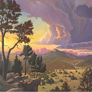 Sunrise Painting Framed Prints - Santa Fe Baldy - Detail Framed Print by Art West