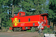 Caboose Prints - Santa Fe Caboose off Route 66 Print by Linda Phelps