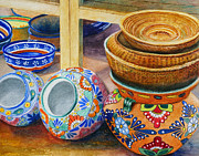 Plates Paintings - Santa Fe Hold em pots and baskets by Karen Fleschler